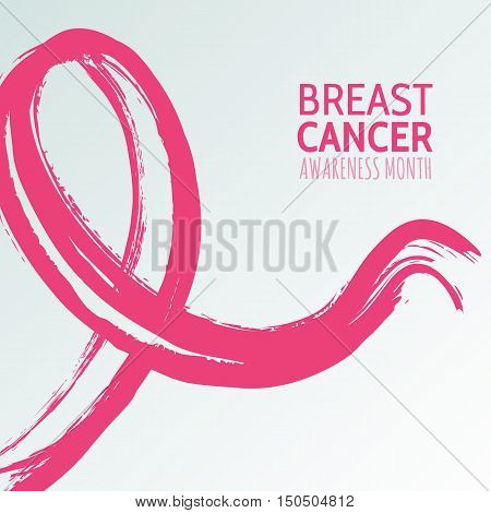 Vector Watercolor Hand Drawn Illustration Of Pink Ribbon, Breast Cancer October Awareness Month.