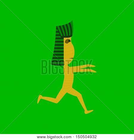 flat illustration on stylish background of mummy halloween monster