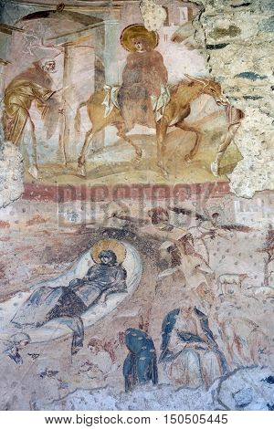 CASTELSEPRIO, ITALY - JUNE 25, 2016: The archeological area of Castelseprio (Varese Lombardy Italy): ruins of a village destroyed in the 13th century. Unesco World Heritage Site. The church mural paintings.