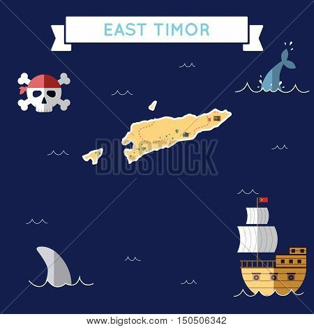 Flat Treasure Map Of Timor-leste. Colorful Cartoon With Icons Of Ship, Jolly Roger, Treasure Chest A