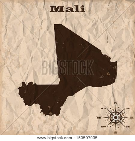 Mali old map with grunge and crumpled paper. Vector illustration