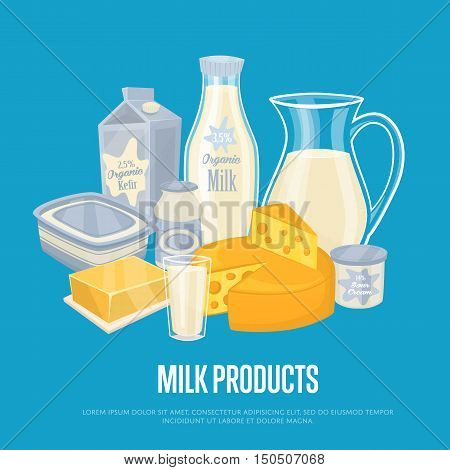Milk products banner with dairy composition isolated on blue background, vector illustration. Healthy nutritious concept with butter, eggs, milk, cream, yoghurt, cheese, kefir. Organic farming.