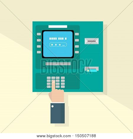 Hand Enter Pin Code In ATM Cash Machine Flat Vector Illustration