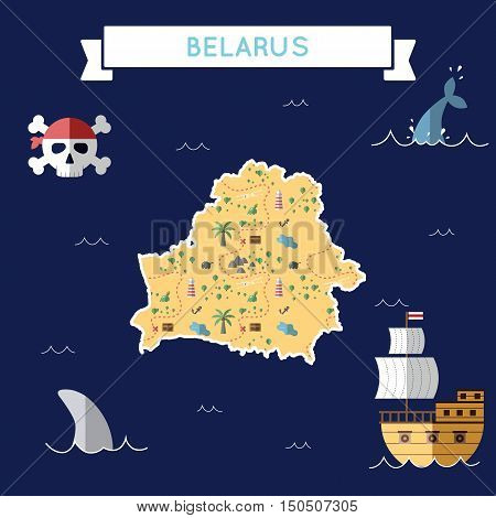 Flat Treasure Map Of Belarus. Colorful Cartoon With Icons Of Ship, Jolly Roger, Treasure Chest And B