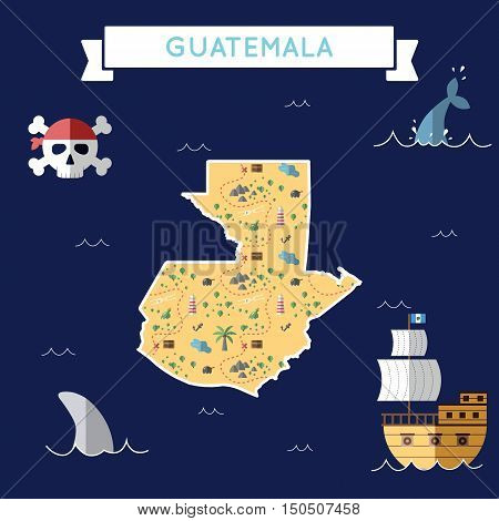 Flat Treasure Map Of Guatemala. Colorful Cartoon With Icons Of Ship, Jolly Roger, Treasure Chest And