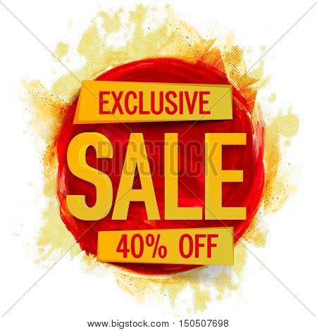 Exclusive Sale Poster, Banner, Flyer, Discount Upto 40% Off, Vector illustration with abstract paint stroke.