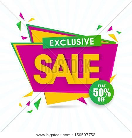 Exclusive Sale with Flat 50% Discount Offer, Creative Paper Tag or Banner. Vector illustration.