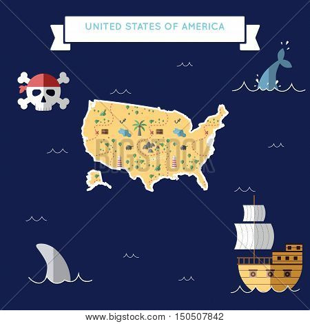 Flat Treasure Map Of United States. Colorful Cartoon With Icons Of Ship, Jolly Roger, Treasure Chest