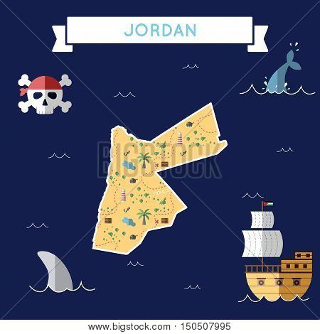 Flat Treasure Map Of Jordan. Colorful Cartoon With Icons Of Ship, Jolly Roger, Treasure Chest And Ba