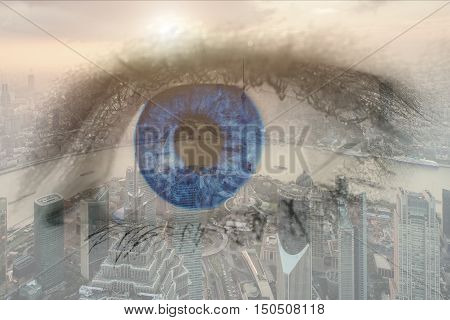 Double exposure image of human eye with business center district Shanghai city. Business future concept.