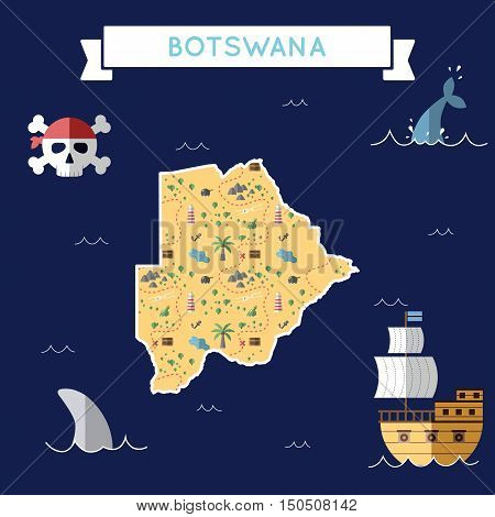 Flat Treasure Map Of Botswana. Colorful Cartoon With Icons Of Ship, Jolly Roger, Treasure Chest And