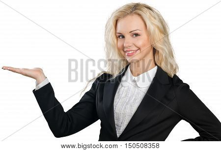 Friendly Businesswoman Holding Invisible Object - Isolated