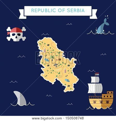 Flat Treasure Map Of Serbia. Colorful Cartoon With Icons Of Ship, Jolly Roger, Treasure Chest And Ba