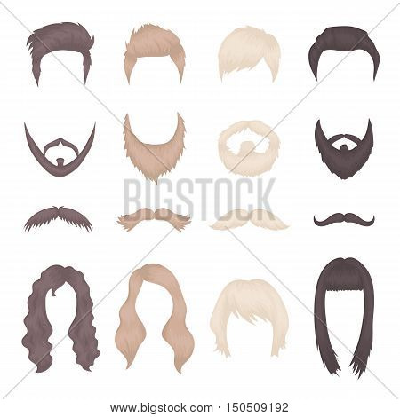 Hairstyles, mustache and beard cartoon icon collection. Vector illustration of unique design hairstyles, beard and mustache icons. Woman and man hairstyles in three color. Set of male and female hair and hairstails.