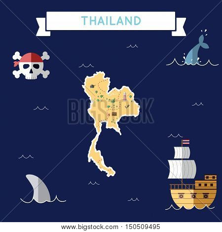 Flat Treasure Map Of Thailand. Colorful Cartoon With Icons Of Ship, Jolly Roger, Treasure Chest And