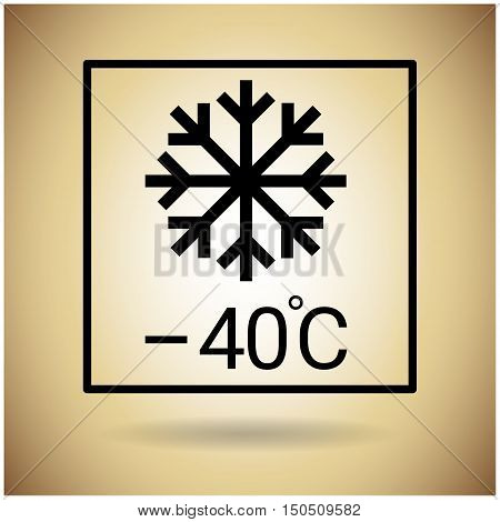 Package Icon Temperature Protection Fragile Sign Flat Vector Illustration