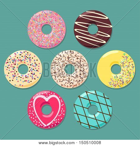 Set of seven colorful donuts on grey cyan background. Each donut is in separate layer.
