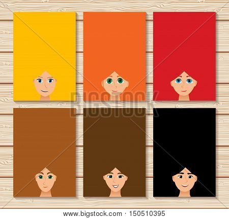 vector multicolored set of long hair heads woman updo girls vertical banners blank empty frame sign board background wallpaper for text label card flyer for beauty salon. Color illustration