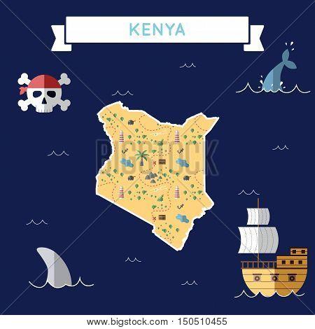 Flat Treasure Map Of Kenya. Colorful Cartoon With Icons Of Ship, Jolly Roger, Treasure Chest And Ban