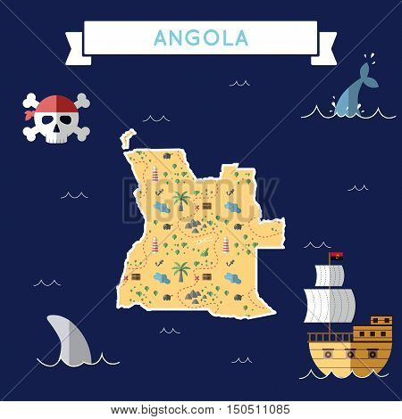 Flat Treasure Map Of Angola. Colorful Cartoon With Icons Of Ship, Jolly Roger, Treasure Chest And Ba