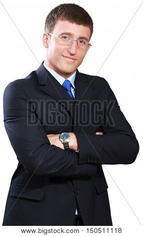 Businessman Standing with Arms Folded and Glasses - Isolated