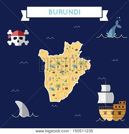Flat Treasure Map Of Burundi. Colorful Cartoon With Icons Of Ship, Jolly Roger, Treasure Chest And B