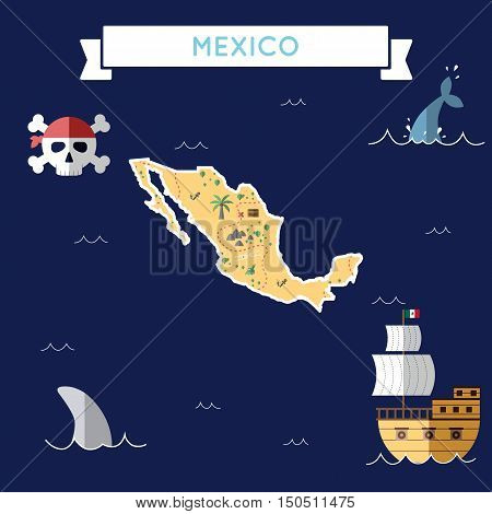 Flat Treasure Map Of Mexico. Colorful Cartoon With Icons Of Ship, Jolly Roger, Treasure Chest And Ba