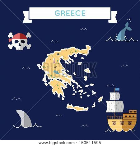 Flat Treasure Map Of Greece. Colorful Cartoon With Icons Of Ship, Jolly Roger, Treasure Chest And Ba