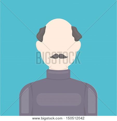 Bald head icon cartoon. Single avatar, peaople icon from the big avatar collection.