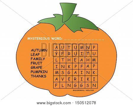 game for children: crossword for thanksgiving for children