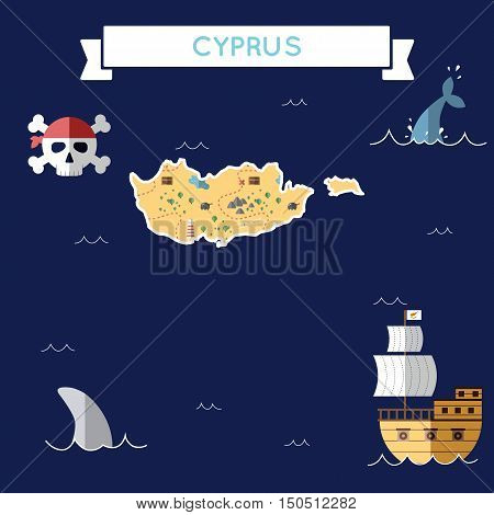 Flat Treasure Map Of Cyprus. Colorful Cartoon With Icons Of Ship, Jolly Roger, Treasure Chest And Ba