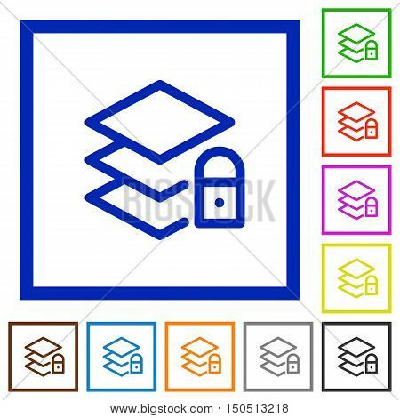 Set of color square framed locked layers flat icons