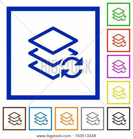 Set of color square framed swap layers flat icons