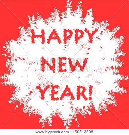 Happy New Year! Handwritten Lettering in Snowball Blot on Red Background. Vector Illustration.