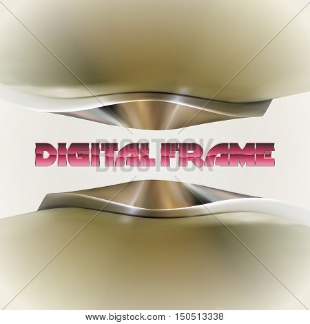 Shiny chrome metallic frame with abstract curves