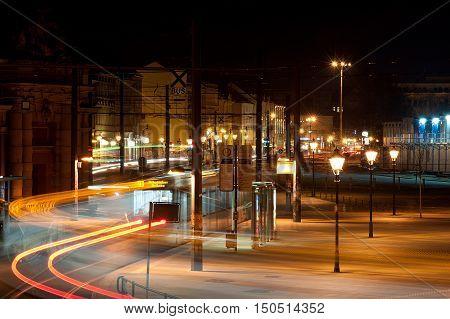 night rush in a city - Potsdam by night germany