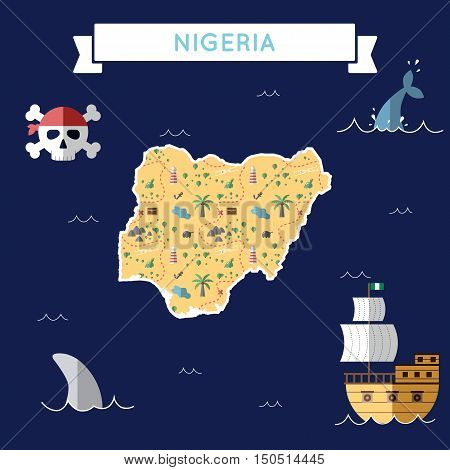 Flat Treasure Map Of Nigeria. Colorful Cartoon With Icons Of Ship, Jolly Roger, Treasure Chest And B