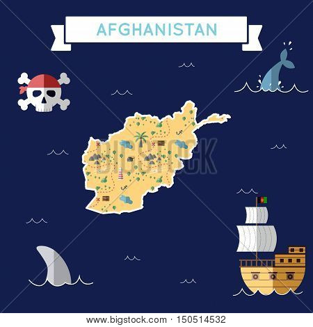 Flat Treasure Map Of Afghanistan. Colorful Cartoon With Icons Of Ship, Jolly Roger, Treasure Chest A