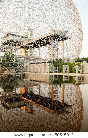 MONTREAL CANADA - July 28: The Biosphere building located at Parc Jean-Drapeau made for expo in 1067 July 28 2014 Montreal Canada