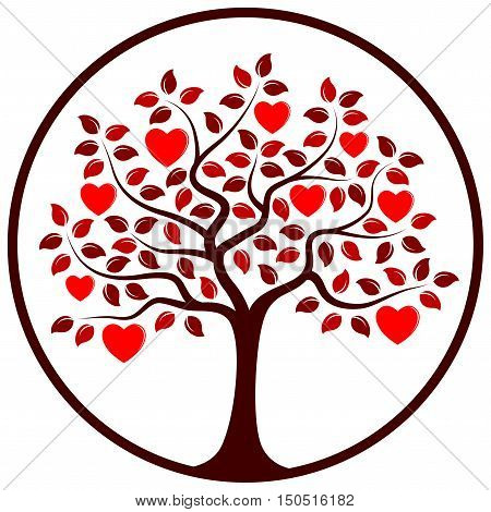 vector heart tree in round isolated on white background