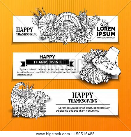 Vector Set Of Doodles Thanksgiving Horizontal Banners.