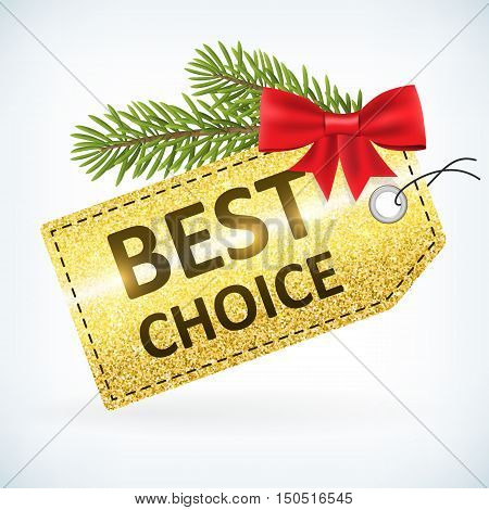 Christmas golden glitter best choice sale vector delivery with bow and twig .Isolated from background. layered.