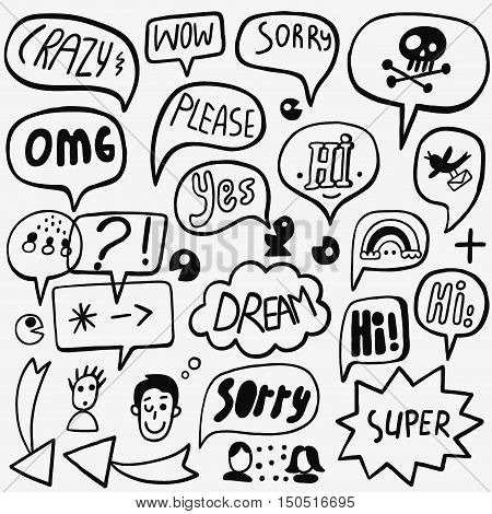 Speech bubble icons in sketch style , design elements