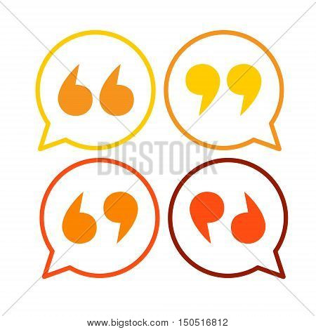Quotes Icon Quotation Mark Colorful Set Flat Vector Illustration