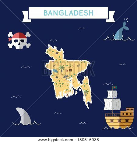 Flat Treasure Map Of Bangladesh. Colorful Cartoon With Icons Of Ship, Jolly Roger, Treasure Chest An