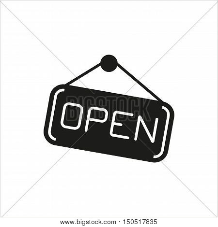 open hanging door plate simple icon on white background Created For Mobile Web Decor Print Products Applications. Black icon isolated. Vector illustration.