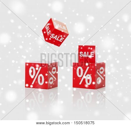 christmas, winter, shopping, advertisement and merchandising concept - set of boxes with sale and percent sign over snow background