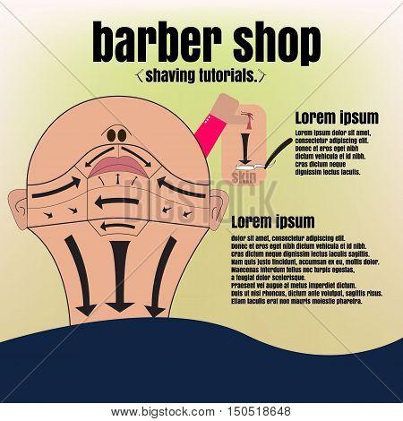 Teaching shaving Barber. barber. barber shop. barber shop poster