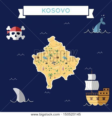 Flat Treasure Map Of Kosovo. Colorful Cartoon With Icons Of Ship, Jolly Roger, Treasure Chest And Ba