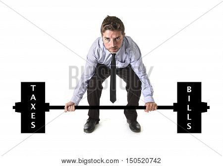 corporate composite of young attractive businessman power lifting heavy weights metaphor to cost of living obligations taxes and bills in burden and struggle concept isolated on white background